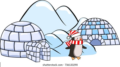 A set of winter igloo houses, penguin in red and white scarf and hat and ice floes Cartoon vector illustration
