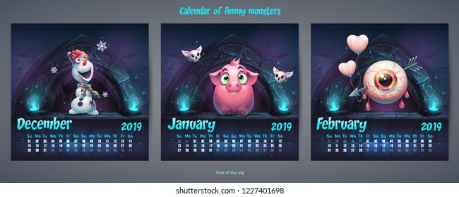 Set of winter months calendar 2019. For web, video games, user interface, design, print