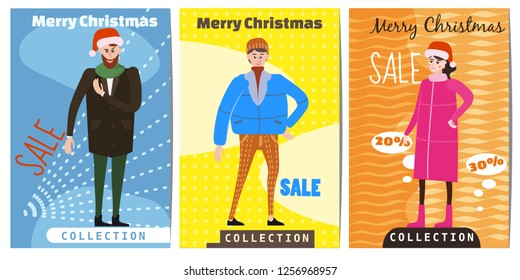 Set of winter sale cards with the characters of people, men and women in winter clothes, the trend of retro flet kartun style vector, illustration, isolated, banner, template