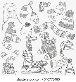 boots sketch images stock photos vectors shutterstock Who Makes Etch a Sketch set of winter sketches warm clothes scarf hats mittens socks