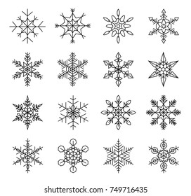 set of winter snowflakes, silhouette black isolated on white background. Ideal for christmas design cards