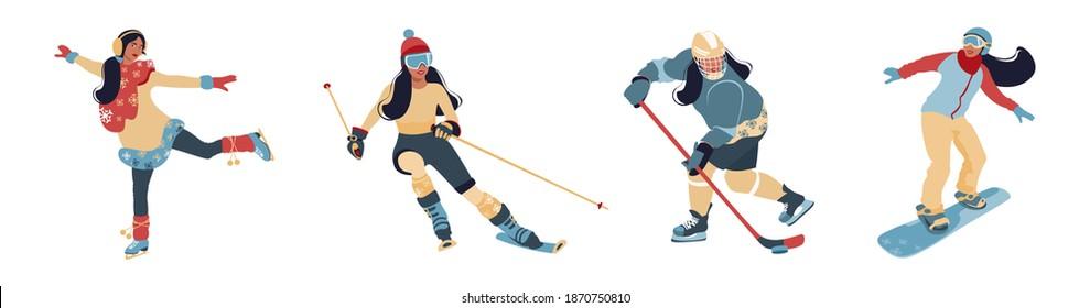 Set of winter sport activities vector flat illustration isolated on white background. Girls doing ice skating, skiing, snowboarding, hockey girl. Winter outdoor activities.