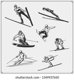 Set of Winter sport athlete silhouettes. Ski jumping, downhill, slalom, skiing emblems. Print design for t-shirt. Sport club emblems.