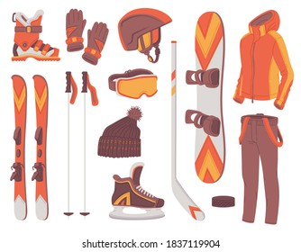 Set of winter sport equipment and clothing for snowboard and ski, flat vector illustration isolated on white background. Sportive outfit for winter activity.