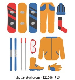 Set of winter sport equipment, skiing and snowboarding. helmet, snowboard, glasses, skii, hat, boots and gloves. ski resort activities.