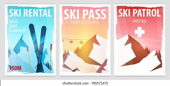 Set of Winter Sport posters. Ski Rental, Patrol, Pass. Mountain landscape. Snowboarder in motion. Vector illustration