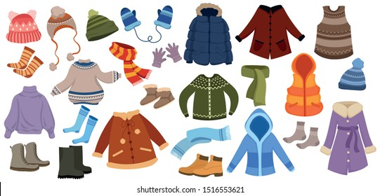 Set of winter things. Collection of warm clothes for the whole family. Cartoon jackets, hats and scarf. Color illustration of a drawing for children.