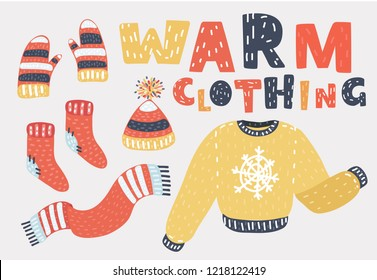 Set of winter warm clothing consisting of sweater, gloves, hat or cap, scarves, scarf. Collection of colorful clothes, bright clothing, clothing store. Vector cartoon illustration in modern concept