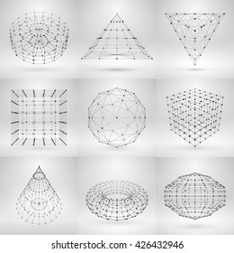 Set of wireframe polygonal elements. Abstract geometric 3D objects with thin lines