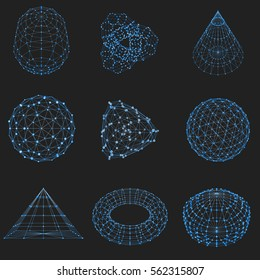 Set of wireframe polygonal elements. Abstract geometric 3D objects with connected lines and dots. Blue objects on black background