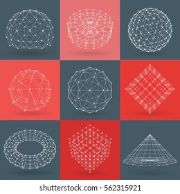Set of wireframe polygonal elements. Abstract geometric 3D objects with connected lines and dots. Set of vector illustrations on red and dark grey background