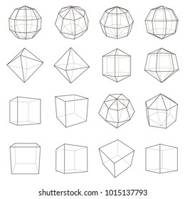 Set of wireframe polygonal elements. Geometric 3D objects with connected lines. Vector illustrations set