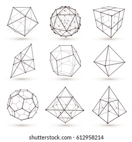 Set of wireframe polygonal elements. Geometric 3D objects with connected lines and dots. Vector illustrations set