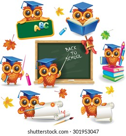 Set of wise owls in graduation caps