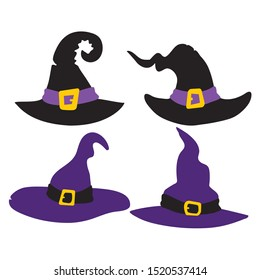 Set of Witch hats for Halloween isolated on white background vector illustration