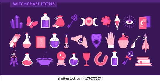 Set for witchcraft icons. Book, cup, crystal, tarot cards, butterfly, horseshoe, moon, magic ball, beans, lavender, bottles with potion and poison. Halloween. Flat vector illustration.