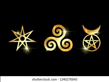 Set of Witches runes, golden wiccan divination symbols. The Elven star or the Seven-pointed Star, the Triskele or Triskelion, the Horned God. Gold shiny Ancient occult symbols vector isolated on black