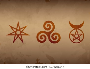 Set of Witches runes, wiccan divination symbols. The Elven star or the Seven-pointed Star, the Triskele or Triskelion, the Horned God. Ancient occult symbols, Old watercolor style Vector illustration.