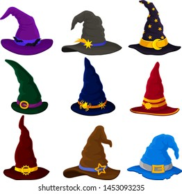 Set of wizard hats. Vector illustration on white background.