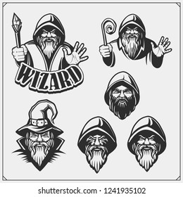 Set of wizard or magician emblems, labels and design elements. Illustrations of sorcerer with black pointed hat and cloak.