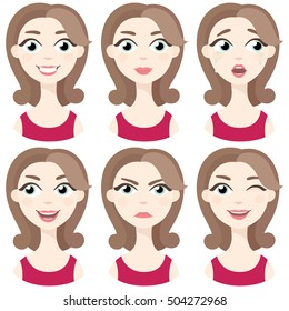Set of woman avatar expressions face emotions vector illustration