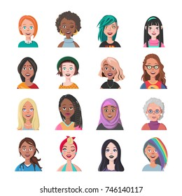 Set of Woman Avatars. Sixteen Characters from Different Subcultures and Social Strata. Beautiful women. Diversity of Cultures. Vector Illustration.