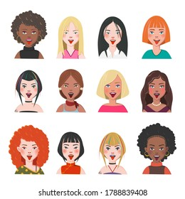 Set of Woman Avatars. Twelve Characters from Different Subcultures and Social Strata. Blep Beautiful women. Diversity of Cultures. Vector Illustration.