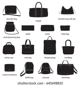 Set of woman bags with names. Black silhouettes, white background. Vector illustration.