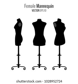 Set of woman body black mannequins isolated on white background. Front and side mannequins on floor stands. Vector illustration for your graphic design.
