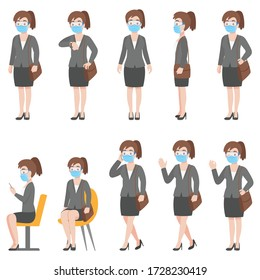 Set of woman in business casual outfits in New normal life wearing a surgical protective Medical mask and goggles for prevent coronavirus. character pose front side cartoon, Health care.