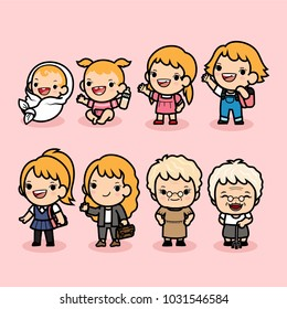 Set of woman character in different ages , Generation of people stages growing up ,baby, child, teenager, adult, aunt, elder person, Vector illustration in cute cartoon.