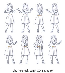 Set of woman character in elegant office dress standing in various poses. Vector freehand line doodle illustrations