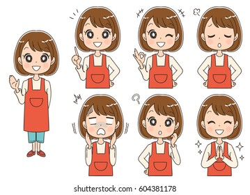 Set of woman with different expressions