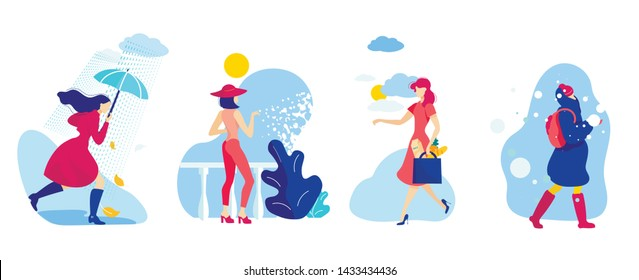 Set Woman Different Season and Weather Conditions. Girl in Fall goes in Rain. Woman Dressed Hat Defending Herself From Sun. Girl in Winter Clothes Walking Down Street in Snow Cartoon.