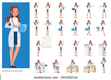 Set of Woman doctor working character vector design. Presentation in various action with emotions, running, standing and walking.