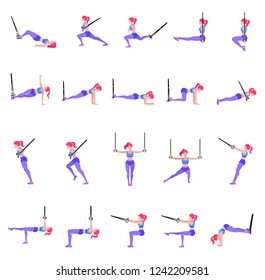 Set of woman doing different exercises with gymnastic rings TRX, sporty slender girl workout with sport equipment in air, vector illustration in flat style