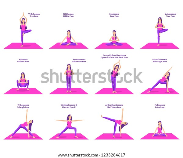 Set Woman Doing Different Yoga Poses Stock Vector Royalty Free 1233284617