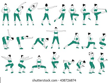 Set of woman doing fitness exercises vector silhouettes. Profile of slim sportive girl in blue sport t-shirt and pants. Icons of woman in different standing training positions.