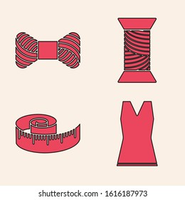 Set Woman dress, Sewing thread on spool, Sewing thread on spool and Tape measure icon. Vector