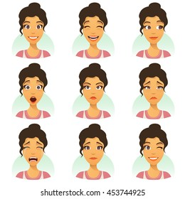 Set of woman expression isolated. young housewife emotion portraits. cute emotional female head illustration. vector face girl, fun, angry, smiling, cry, sad, tears, despair, smiling, surprise, flirt.
