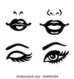 Set of woman eyes, lips, noses icon vector isolated on white background
