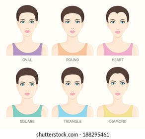 Set of woman face shapes : Oval ,Round ,Heart ,Square ,Triangle and Diamond