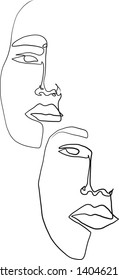 Set woman faces one line portrait. Continuous beauty female carton icon. Hand drawn vector. Glamor fashion concept. Abstract creative doodle art.