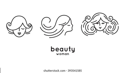 Set of woman faces and portraits in trendy linear style - beauty symbols for hair, spa salon or organic cosmetics. Thin line style