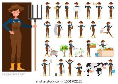 Set of Woman farmer character vector design. Presentation in various action with emotions, running, standing and walking.