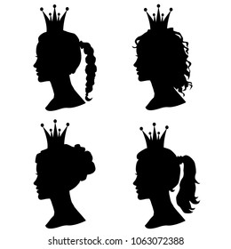 Set of woman head profile silhouettes with crown