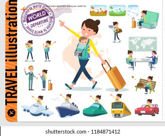 A set of woman holding a baby on travel.There are also vehicles such as boats and airplanes.It's vector art so it's easy to edit.