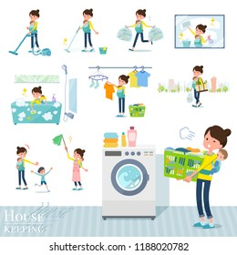A set of woman holding a baby related to housekeeping such as cleaning and laundry.There are various actions such as child rearing.It's vector art so it's easy to edit.
