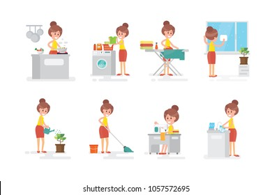 Set of woman housewife  - on white background