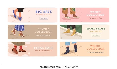 Set of woman legs in trendy shoes shopping banner vector flat illustration. Bundle of promo flyer with place for text. Discount, big final sale, seasonal collection of footwear store or shop isolated.